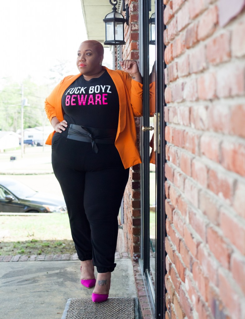 Model Jes rocking tees from PHAT GIRL BOUTEEQUE