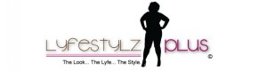 Pink, black and white logo for Lifestylz Plus with black full figured silhouette.