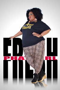 Plus size African American woman with an afro standing next to the PHAT girl fresh sign.