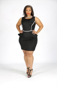 Curvy Model Shanda Ferguson wearing designs by Bella Rene'