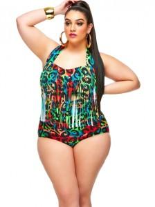 Blogger Nadia Aboulhosn wearing fringe swimsuit by Monif C.